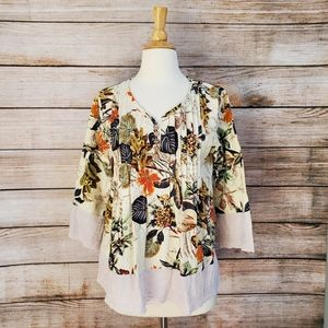 Cream Navy Floral Leaf Printed Eyelet Trim Blouse